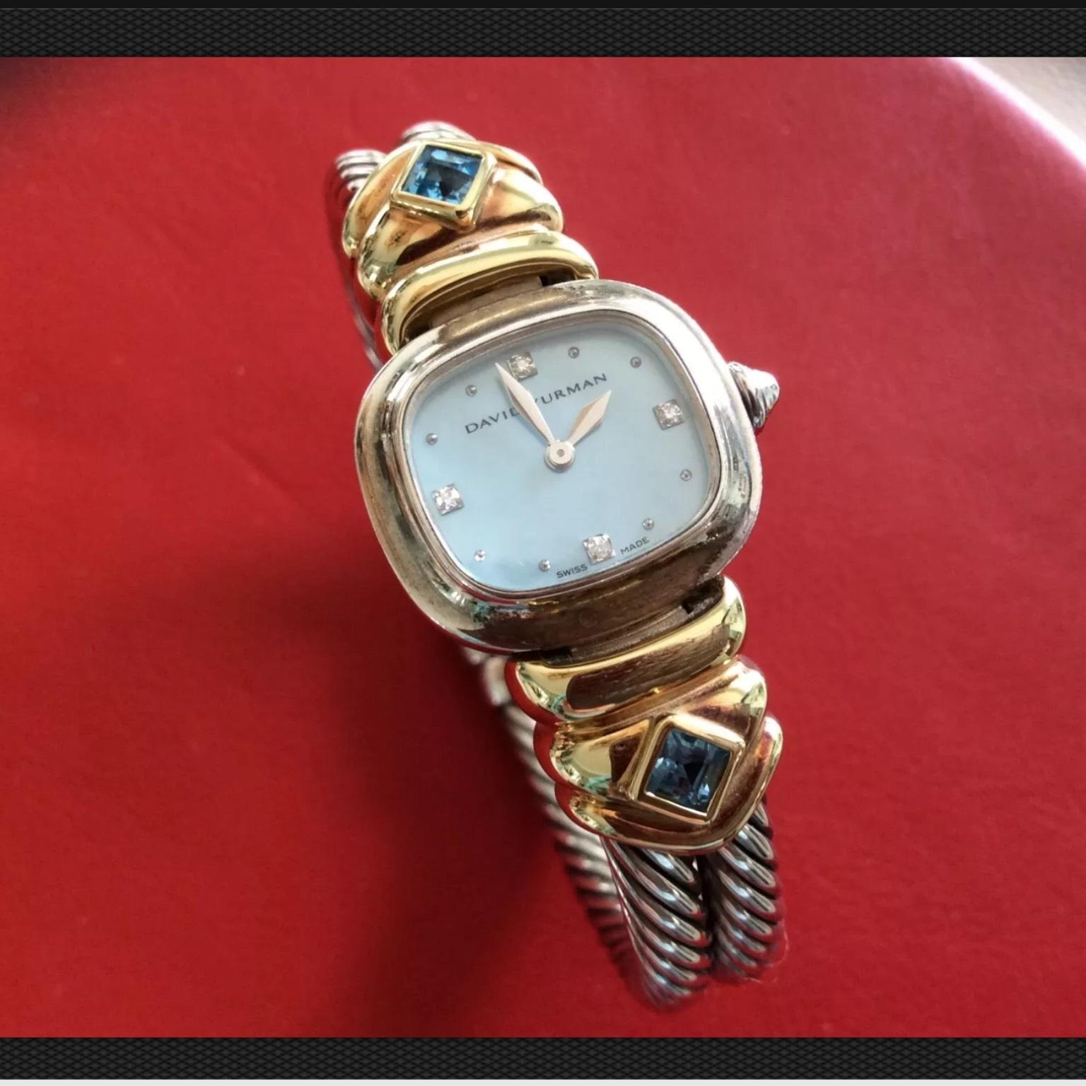 david yurman cable sterling silver watch with blue topaz and 18karat yellow gold