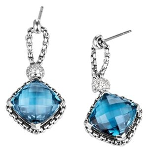 David Yurman Cushion On Point Earrings with Diamonds and Blue Topaz