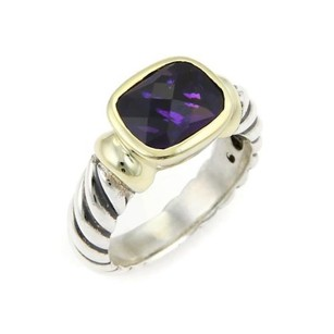 David Yurman David Yurman 14k Gold Sterling Silver Amethyst Cable Design Ring-size