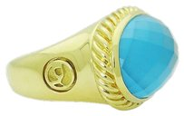 David Yurman David Yurman 18k Yellow Gold Oval Blue Topaz Signature Ring R776