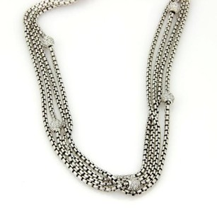 David Yurman David Yurman 925 Silver 18k Ygold 1.75ctw Pave Diamond Multi-strand Necklace