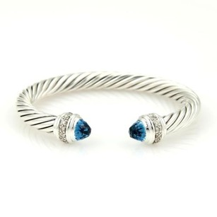 David Yurman David Yurman 925 Silver 7mm Diamond Blue Topaz Classic Cable Cuff Bracelet