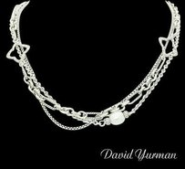 David Yurman David Yurman 925 Silver Pearl Diamond 32 Quatrefoil Multi Chain Necklace N362