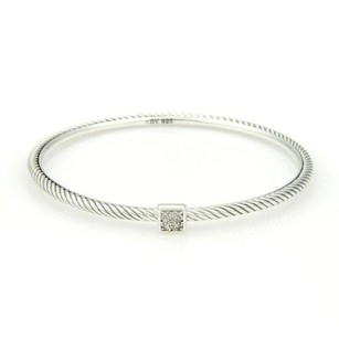 David Yurman David Yurman 925 Sterling Diamond Silver Cable Wire Bangle