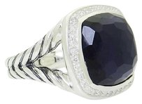 David Yurman David Yurman Albion 925 Silver 0.34 Tcw Diamond 14mm Black Orchid Ring R619