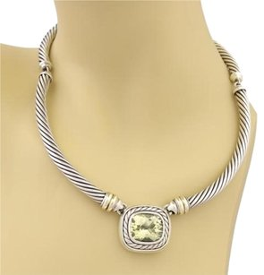 David Yurman David Yurman Albion Sterling 14k Gold Citrine 7mm Cable Station Necklace