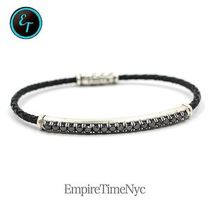 David Yurman David Yurman Chevron Bracelet In Leather With Black Diamonds B15166mssabdbklem
