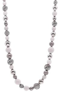 David Yurman David Yurman Sterling Silver White Agate Elements Bead Necklace