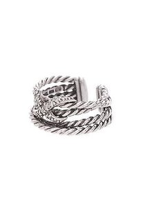 David Yurman David Yurman Sterling Silver Diamond X Crossover Ring Size 6