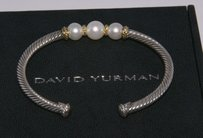 David Yurman David Yurman Pearl Cable Cuff Sterling and Gold Bracelet