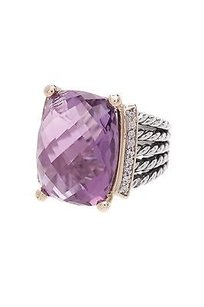 David Yurman David Yurman Sterling Silver 18k Gold Amethyst Diamond Wheaton Ring Size 7