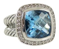 David Yurman David Yurman Sterling Silver .24tcw 11mm Blue Topaz Diamond Albion Ring