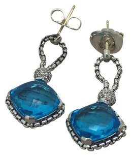 David Yurman David Yurman Sterling Silver Blue Topaz Cushion on Point Diamond Chain Earrings