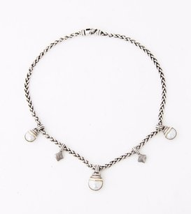 David Yurman David Yurman Sterling Silver Chain Mabe Pearl Gray Vtg Pendant Choker Necklace