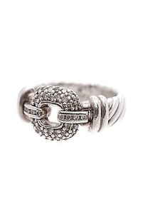 David Yurman David Yurman Sterling Silver Diamond Buckle Cable Ring Size 7.5