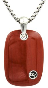 David Yurman Exotic Stone Tablet Necklace in Sterling Silver with Red Jasper