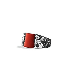David Yurman Griffin Signet Ring with Red Jasper