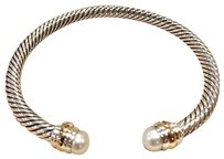 David Yurman Never Worn Cable Classic Pearl Sterling Silver & 14k Gold 5mm Bracelet