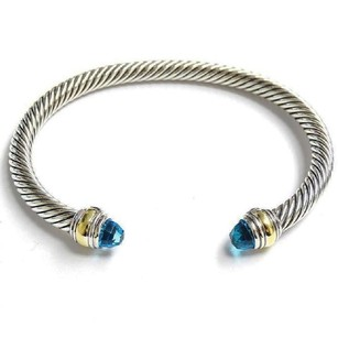 David Yurman Never Worn Cable Classic with Blue Topaz & 14k Gold 5mm Bracelet