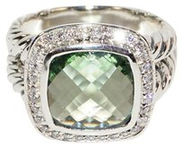 David Yurman DAVID YURMAN Auth ALBION 925 St Silver DIAMOND PRASIOLITE 11MM RING