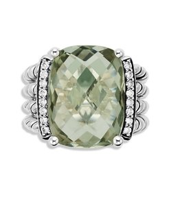 David Yurman David Yurman Wheaton 925 St Silver Prasiolite Diamonds Ring