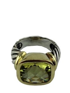 David Yurman Sterling Silver 14k Gold Citrine Noblesse Cable Ring