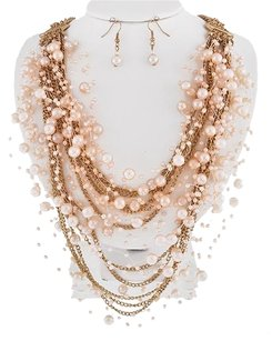 DaVinci Bridal Gold Tone Pink Synthetic Pearl Necklace & Earrings
