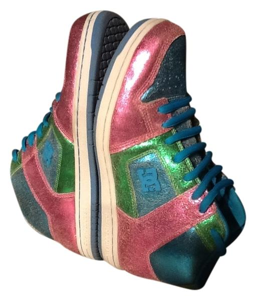 dc shoes high tops multicolor pink blue green athletic