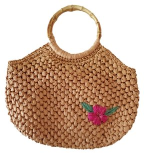 dELiA*s Summer Floral Tan Beach Bag