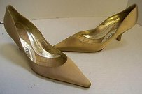 Delman Champagne Beige Satin Beiges Pumps