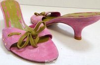 Delman Leather Green Bow Pink Sandals