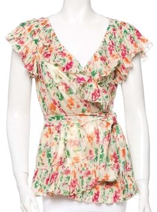 Diane von Furstenberg Floral Watercolor Print Ruffle Wrap Top Cream, Green, Pink, Orange