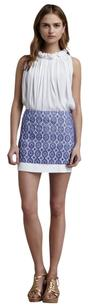 Diane von Furstenberg Lace Preppy Mini Crochet Mini Skirt Blue, White