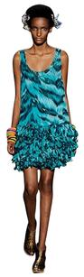 Diane von Furstenberg short dress Turquoise Print Animal Print Silk Chiffon Lined Scoop Back Scoop Neck Picot Trimmed Fringe Fringe Hem Loose Lossely Fitted Only on Tradesy