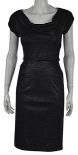 Diane von Furstenberg Womens Black Textured Metallic Sheath Dress