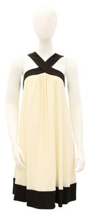 Diane von Furstenberg short dress Ivory, Brown Shift Criss Cross Contrast on Tradesy
