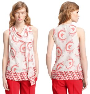 Diane von Furstenberg Silk Georgette Print Sleeveless Top Coral, White