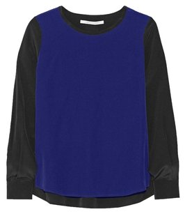 Diane von Furstenberg Silk Two-tone Longsleeve Polished Modern Top Blue, Black