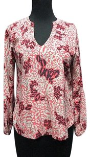 Diane von Furstenberg Silk Long Sleeves V Neck 4568 A Top dark pink, navy blue, light blue