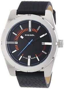 Diesel Diesel Mens Black Leather Steel Watch Dz1597