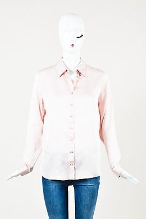856c2b0a985c62 60%OFF Dior Christian Light Pink Silk Pointed Collar Long Sleeve Button Up  Top
