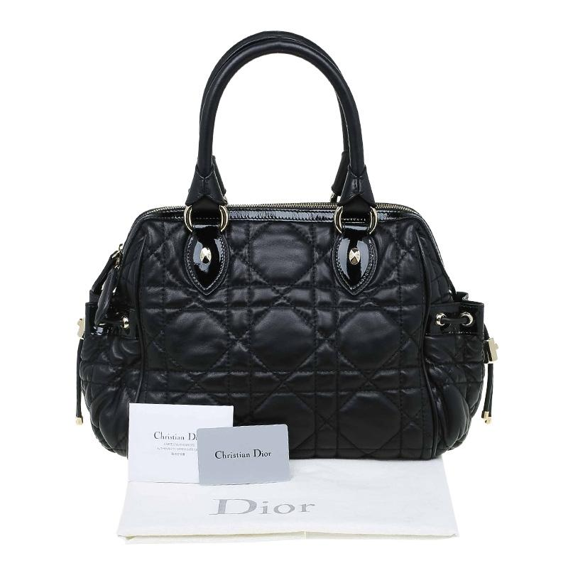 Dior Cannage Quilted Black Satchel fFCQN