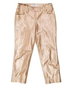 Dior Christian Leather Capri/Cropped Pants Gold