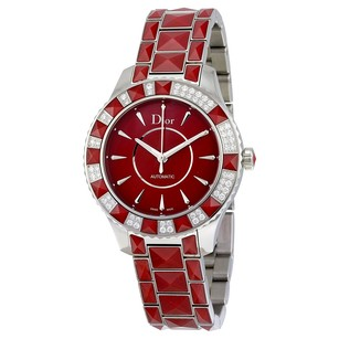Dior Christal Red Dial Diamond Red Sapphire Inserts Automatic Ladies Watch