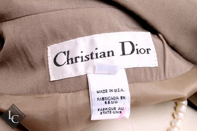 Dior CHRISTIAN DIOR 2pc Taupe Skirt Suit Size 8