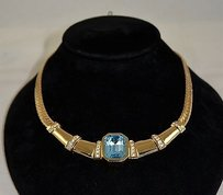 Dior Christian Dior Vintage Gold Tone Structured Necklace W Blue Stone