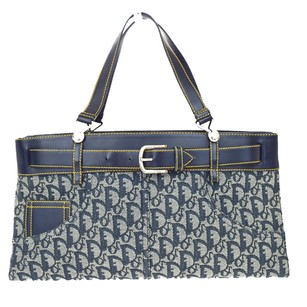 Dior Christian Hand Leather Tote in Navy Blue