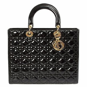 Dior Christian Lady Patent Red Tote in Black