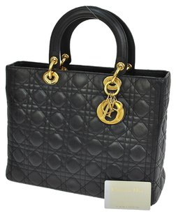 Dior Christian Leather Satchel in Black