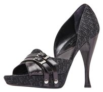 Dior Christian Logo Jacquard Platform High Heel Open Toe Black Pumps